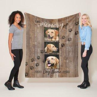 Custom Dog Memorial Rustic Wood Look Fleece Blanket