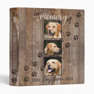 Custom Dog Memorial Rustic Wood Look Keepsake 3 Ring Binder