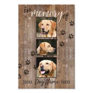 Custom Dog Memorial Rustic Wood Look Keepsake Photo Print