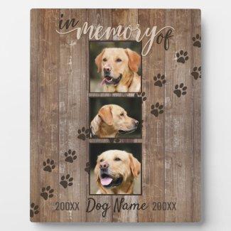 Custom Dog Memorial Rustic Wood Look Keepsake Plaque