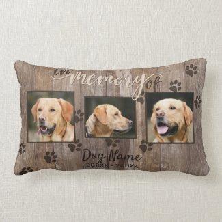 Custom Dog Memorial Rustic Wood Look Lumbar Pillow
