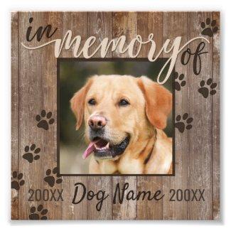 Custom Dog Memorial Rustic Wood Look Photo Print