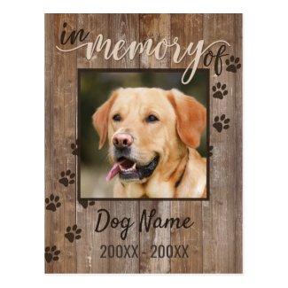 Custom Dog Memorial Rustic Wood Look Postcard
