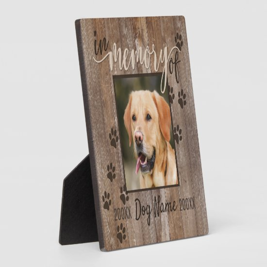 Custom Dog Memorial Rustic Wood Look Square Plaque