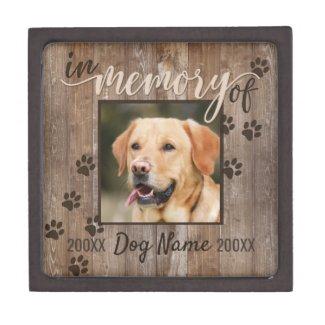 Custom Dog Memorial Rustic Wood Look Urn Gift Box