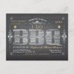 Pretty Vintage Chalkboard With Sweet Flowers I Do BBQ Invitation