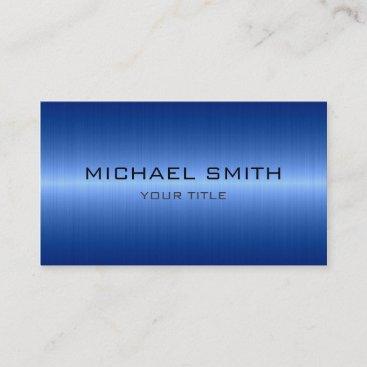 Custom Monogram Cool Blue Stainless Steel Metal Business Card