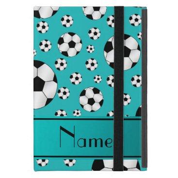 Custom name fun turquoise soccer balls and stripe case for iPad mini