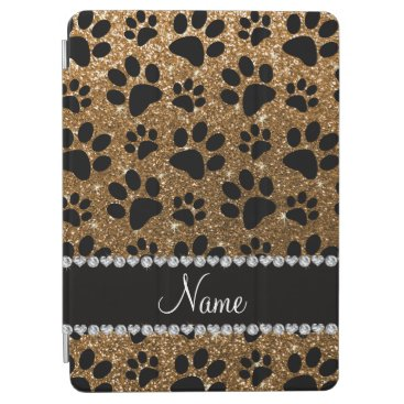 Custom name gold glitter black dog paws iPad air cover