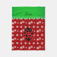 Custom name ladybug red snowflakes green stripe fleece blanket
