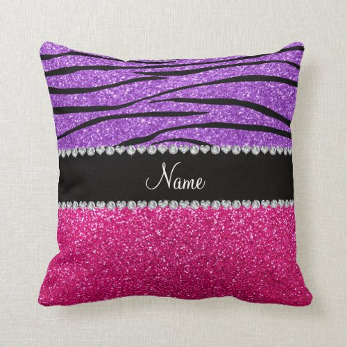 Custom name pink glitter pastel purple zebra strip throw pillow