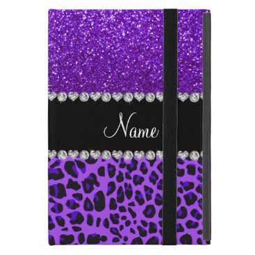 Custom name purple leopard indigo purple glitter iPad mini case