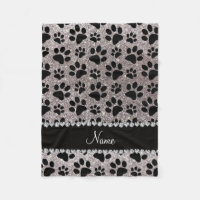 Custom name silver glitter black dog paws fleece blanket
