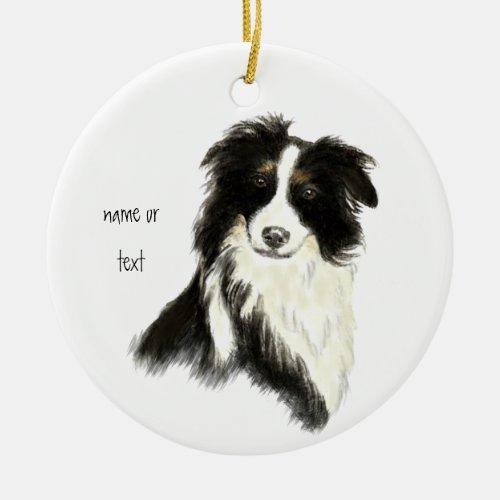 Custom Name text Border Collie Dog Pet Ceramic Ornament