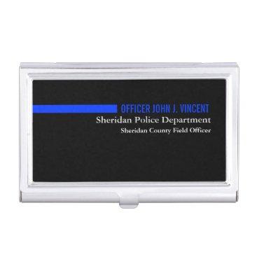 Custom Name Thin Blue Line Police Business Card Holder