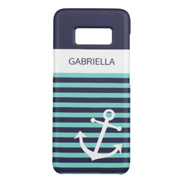 Custom Nautical Aqua Turquoise Striped Pattern Case-Mate Samsung Galaxy S8 Case