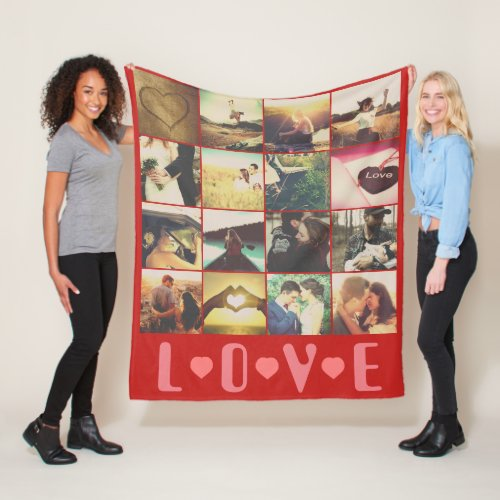 Custom photo love template fleece blanket