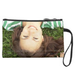 Custom Photo Wristlet Purse for Cell Phone Sueded