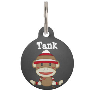 Custom Retro Sock Monkey Dog Pet Tag