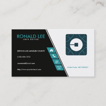 Custom Ride Sharing Uber Driver (New Uber Logo) Business Card
