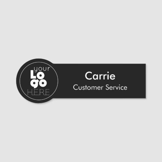 Custom Round White Company Logo on Black Name Tag