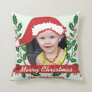 Custom Santa Hat to Personalize Throw Pillow