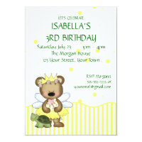 Custom Teddy Bear Yellow Fairy Princess Card
