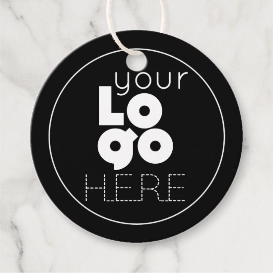 Custom White Round Business Logo on Black Hang Tag