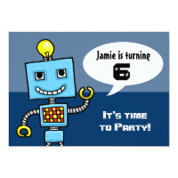 Customisable Robot fancy dress party invitation