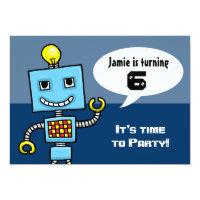 Customisable Robot fancy dress party invitation