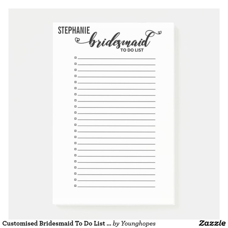 Customised Bridesmaid To Do List Wedding To Do Post-it Notes