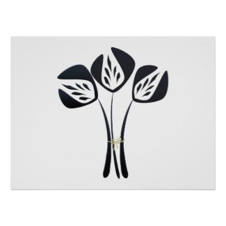 Customizable Art Deco Style Black Flowers Bouquet Poster