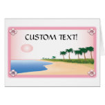Customizable Beach Scene With Hibiscus cards
