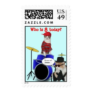 Customizable Drum Roll Birthday Stamp