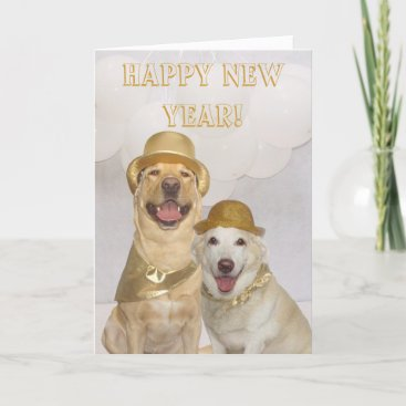 Customizable Happy New Year Lab/Dogs Holiday Card