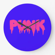 Customizable PUNK Pink text Drip drippy Font Clock