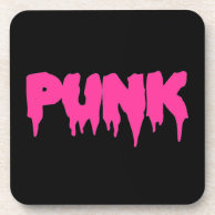Customizable Punk Pink Drip Font Cork Coaster
