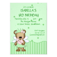 Customizable Teddy Bear Green Fairy Princess Card