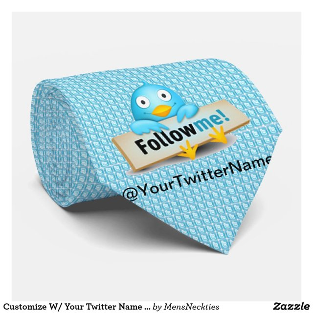 Customize W/ Your Twitter Name Follow Me Bird Tie