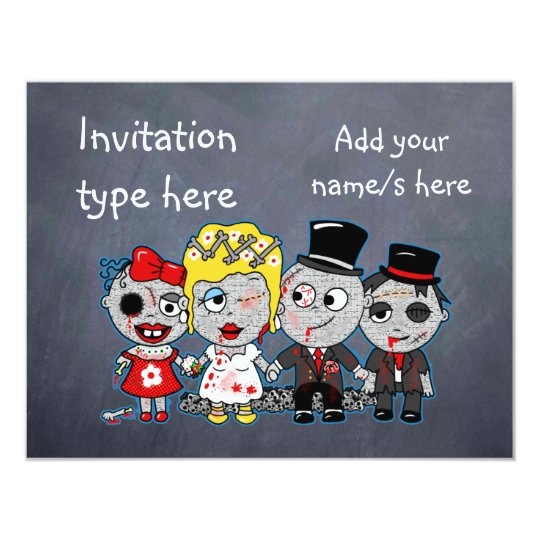 Customize Zombies Wedding Bride Groom Accessories Invitation