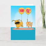 ❤️ Cute & Funny Uplifting Dog & Cat Thank You Card