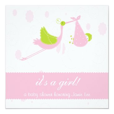 "Cute and Pink ""it's a girl"" Baby Shower Card"