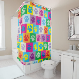 Cute and Quirky Dog Paws Patchwork Shower Curtain