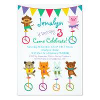 Cute Animals Birthday Invitation Unicycle Circus