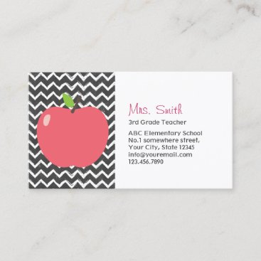 Cute Apple & Chalkboard Chevron Stripes Teacher Business Card