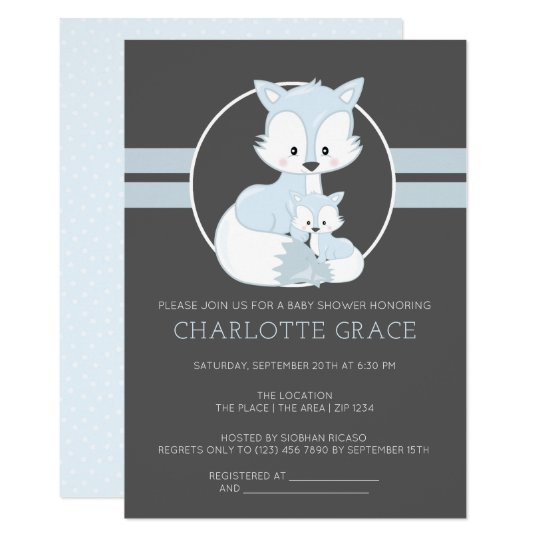 Cute Arctic Fox Personalized Baby Shower Invitation