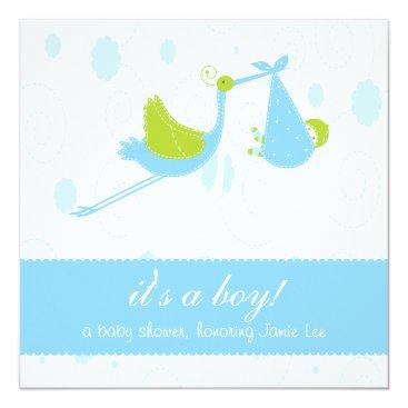 "Cute Baby Blue ""it's a boy"" Baby Shower Card"