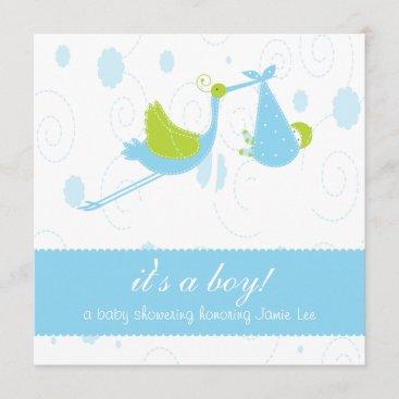 "Cute Baby Blue ""it's a boy"" Baby Shower Invitation"