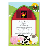 Cute Baby Farm Animals Baby Shower Invitation