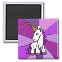 Cute Baby Unicorn with Purple Mane Magnet